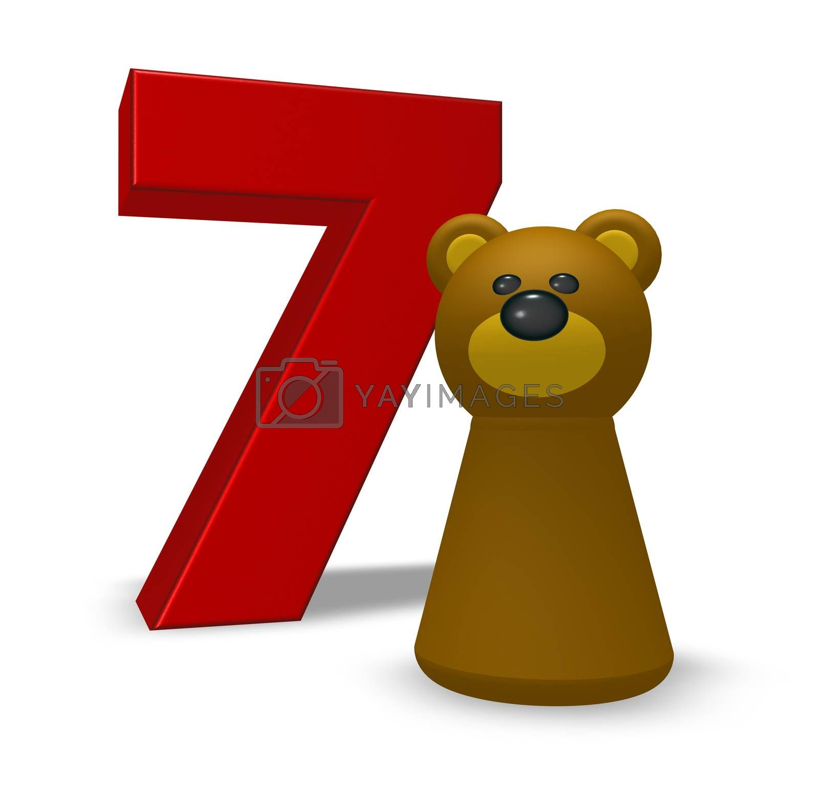 number seven and brown bear - 3d illustration