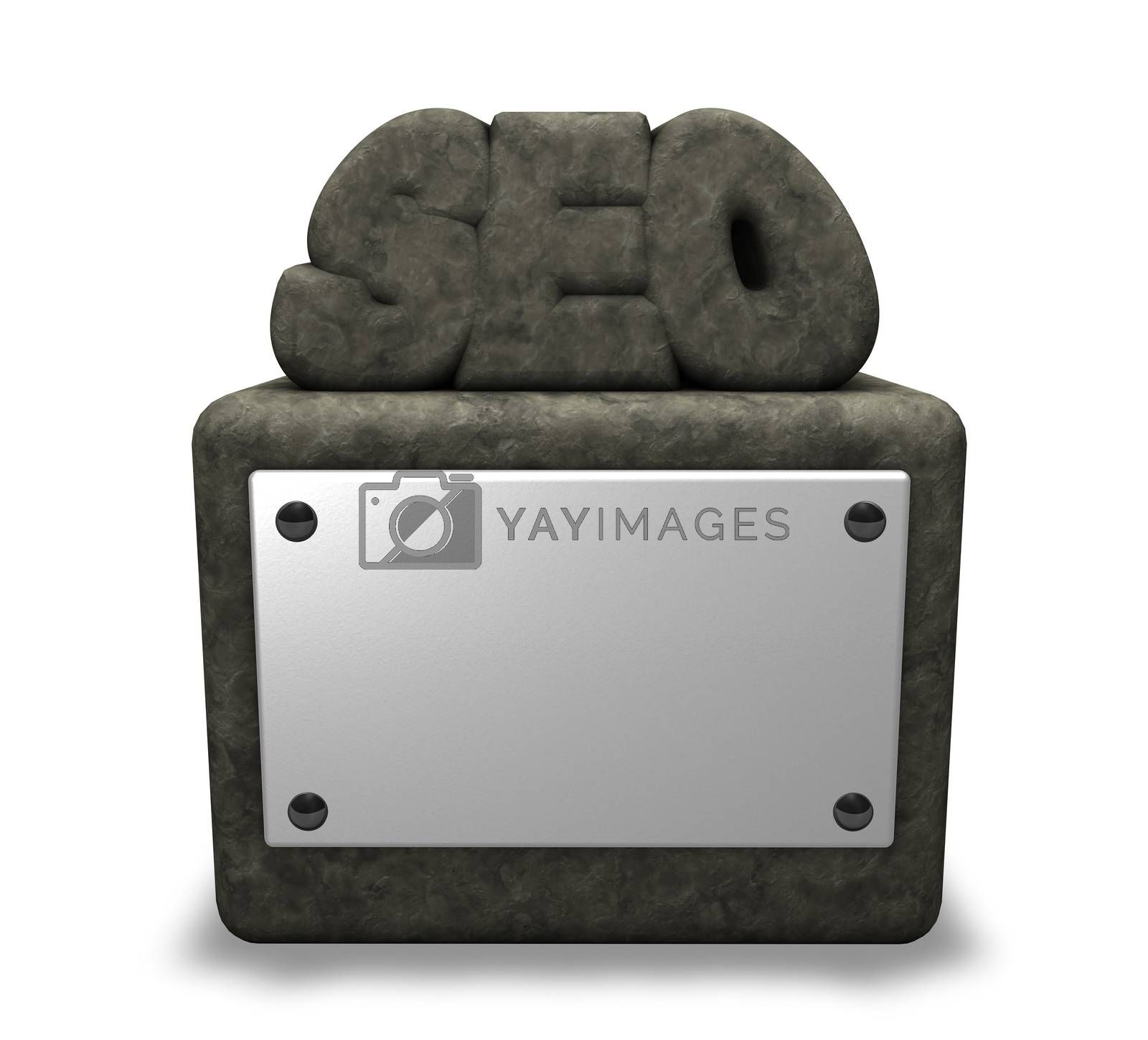 seo tag on stone socket with blank white sign - 3d illustration