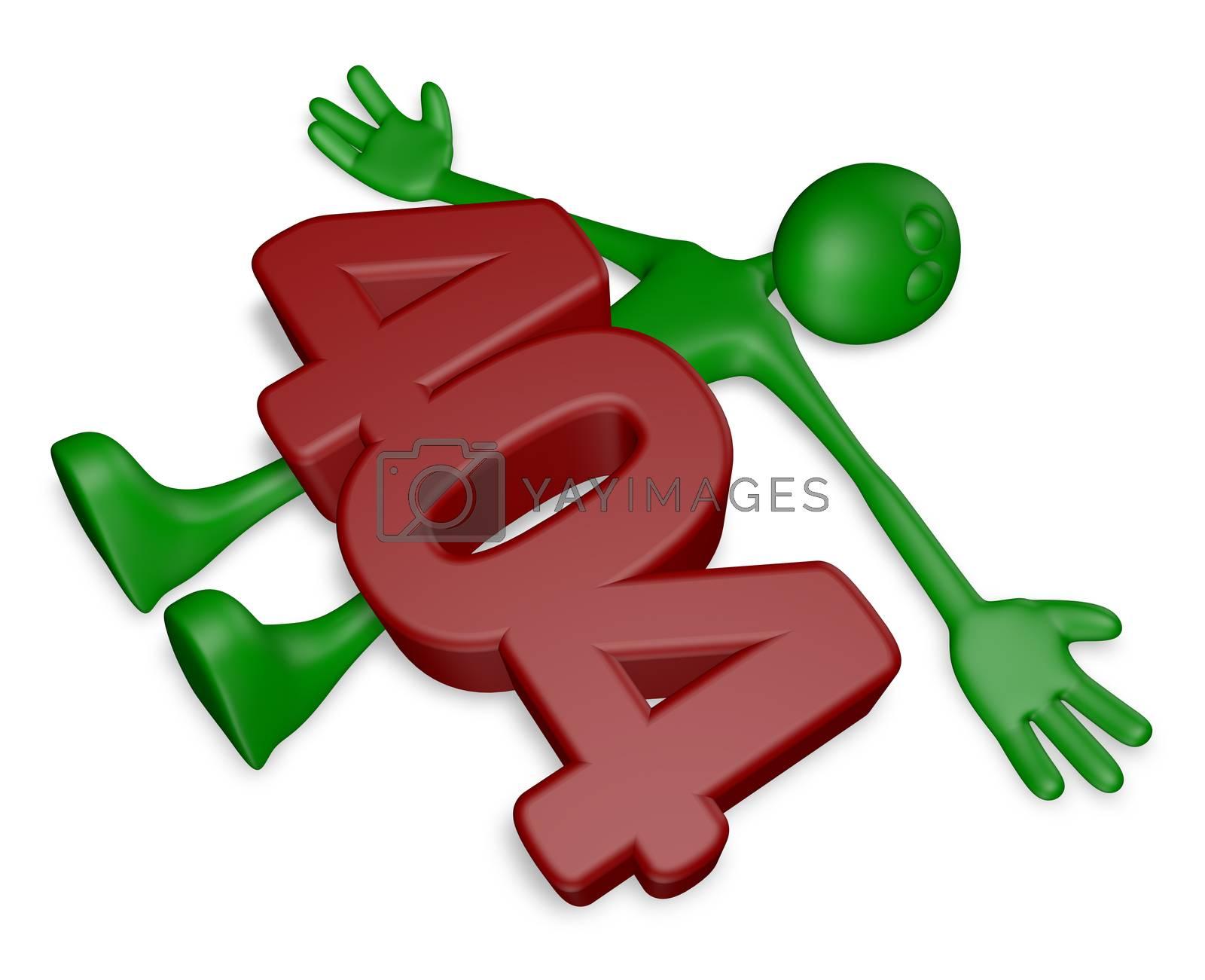 number 404 on dead green guy - 3d illustration