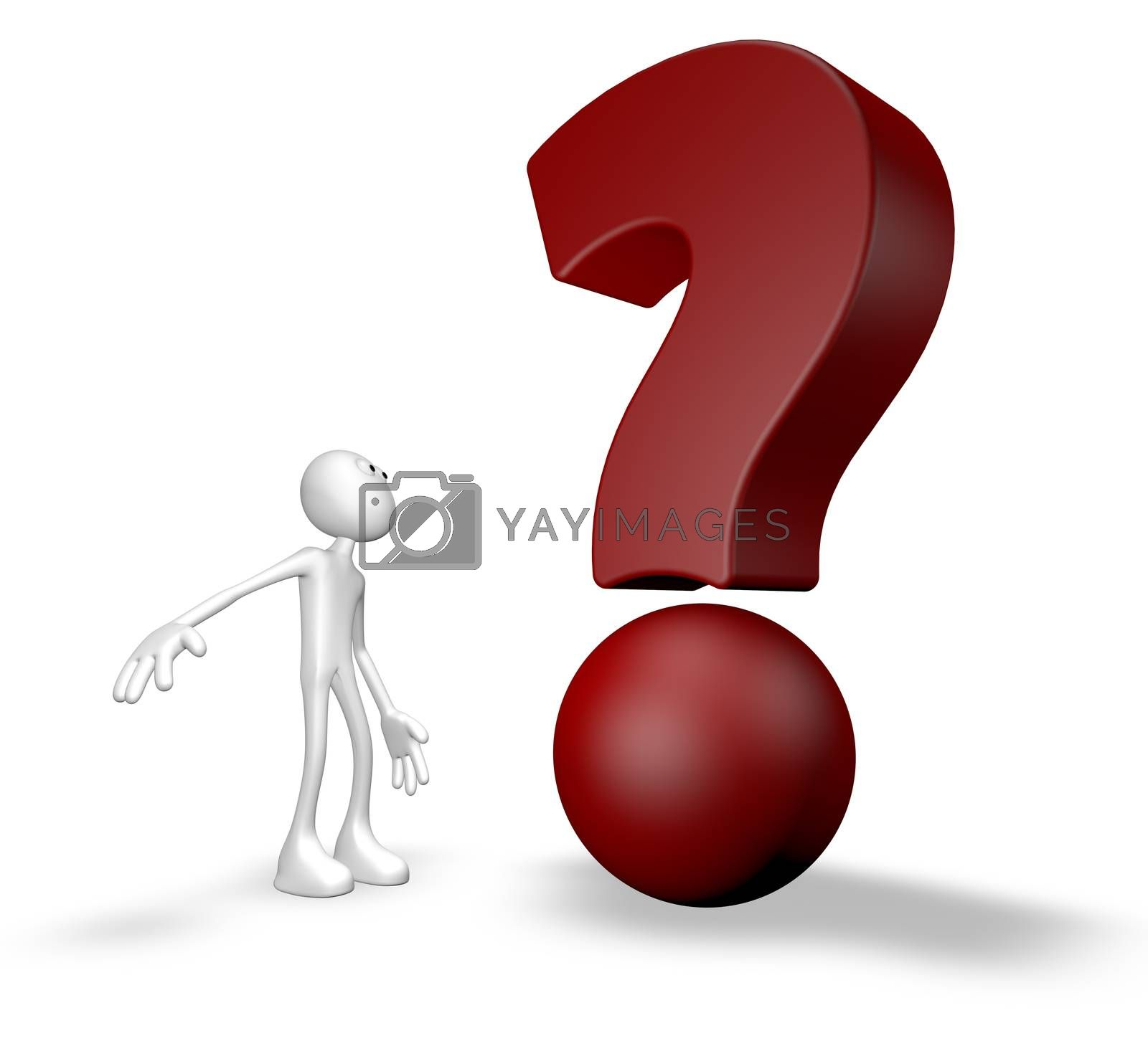 white guy and question mark - 3d illustration