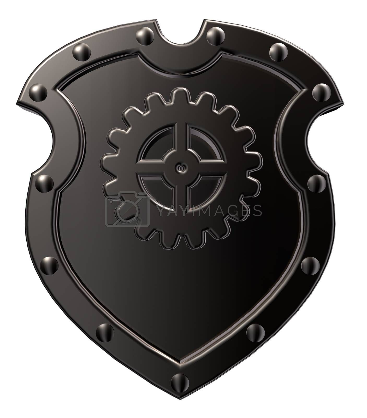 riveted metal shield with gear wheel symbol on white background - 3d illustration