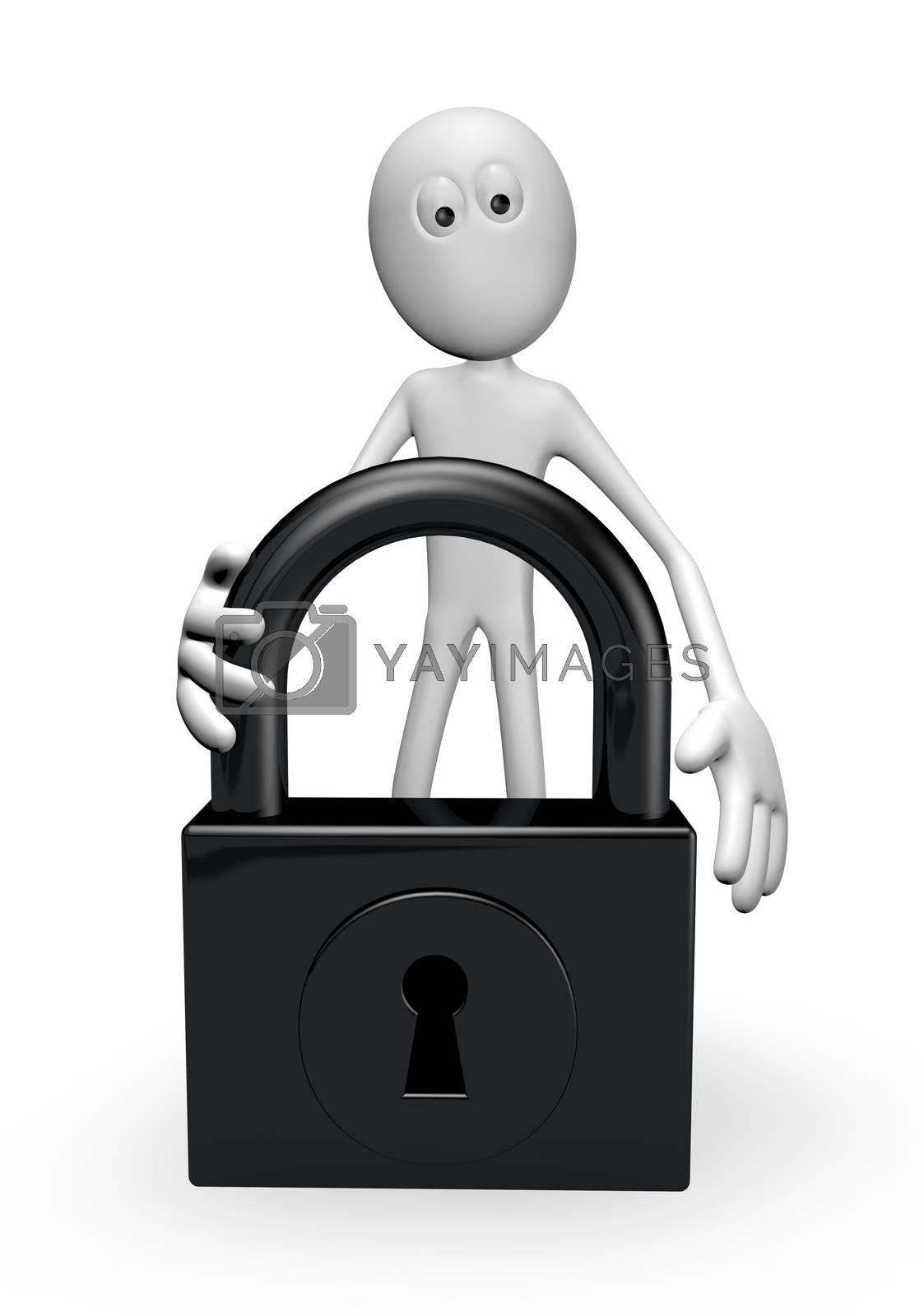 white guy and padlock on white background - 3d illustration