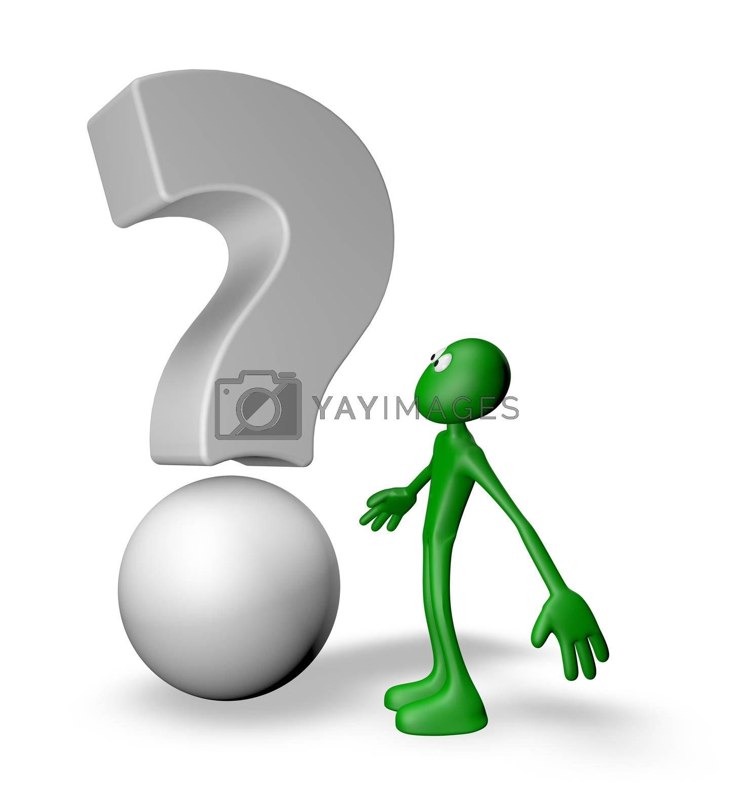 green guy and question mark - 3d illustration