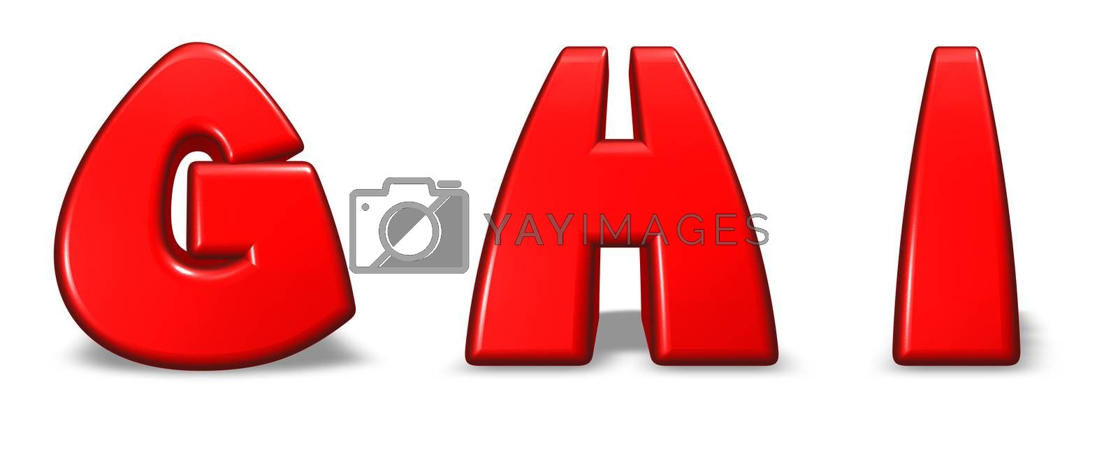 red  letters g, h and i on white background - 3d illustration