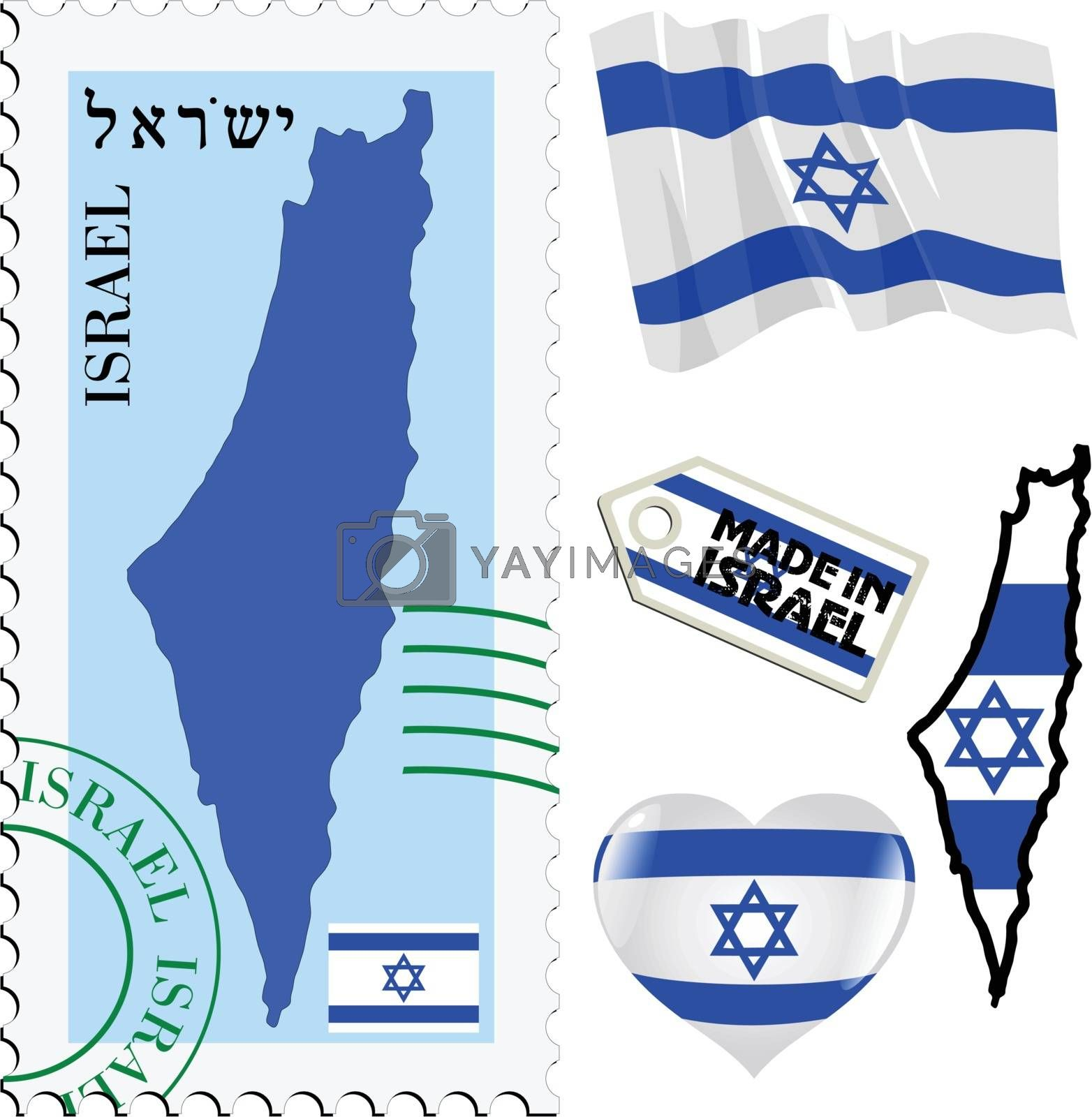 set of different symbols in national colours of Israel