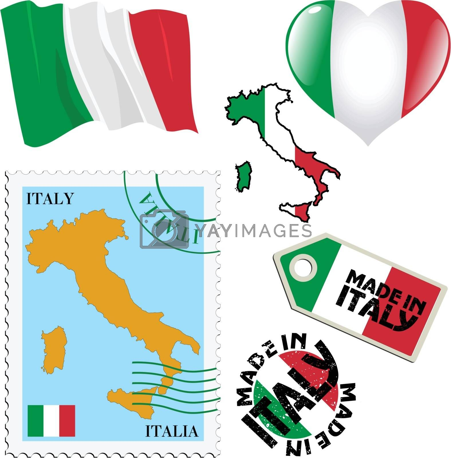 set of different symbols in national colours of Italy