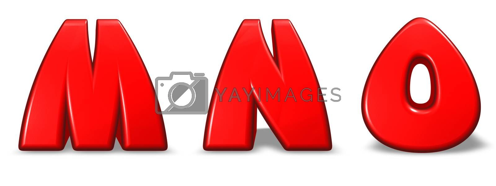 red  letters m, n and o on white background - 3d illustration