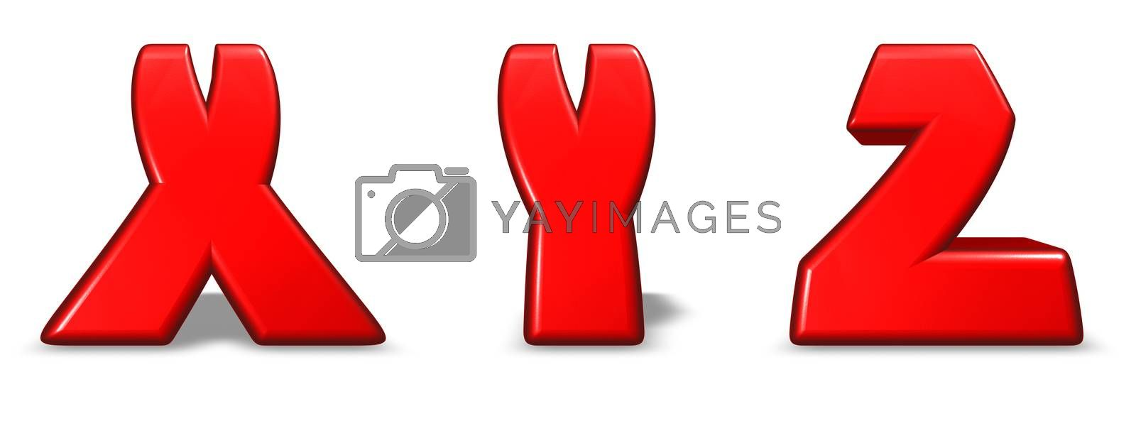 red  letters x, y and z on white background - 3d illustration