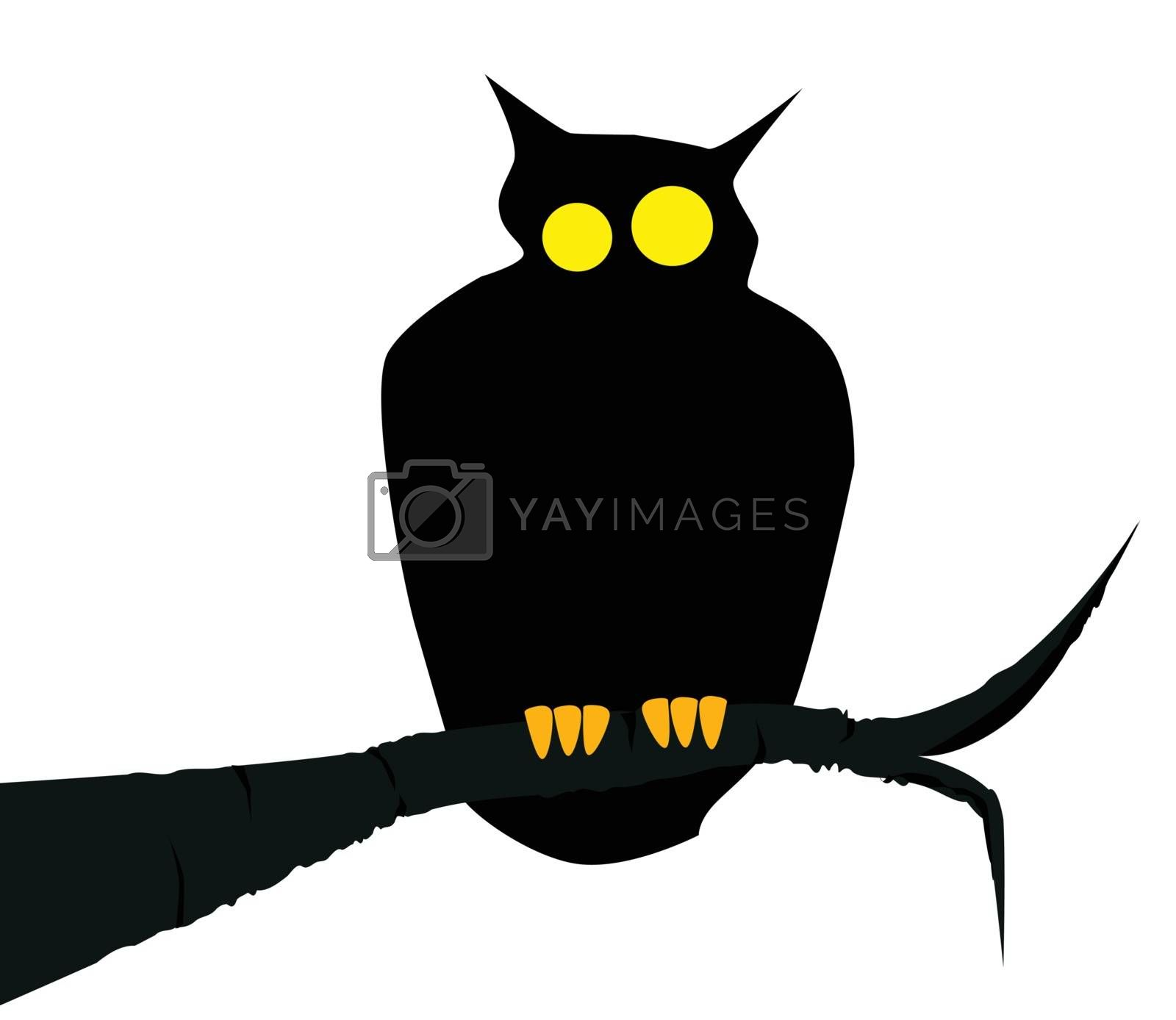 An owl sitting on a branch. Isolated over white.