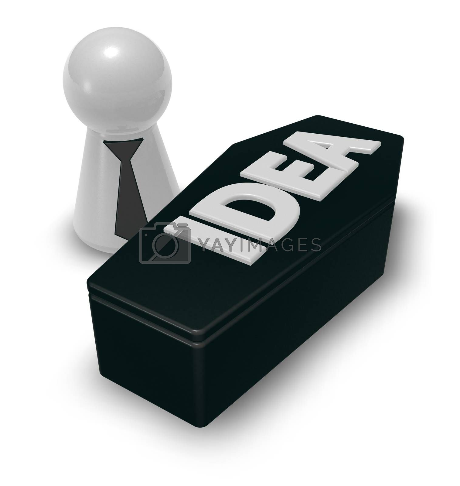play figure and casket with the word idea - 3d illustration