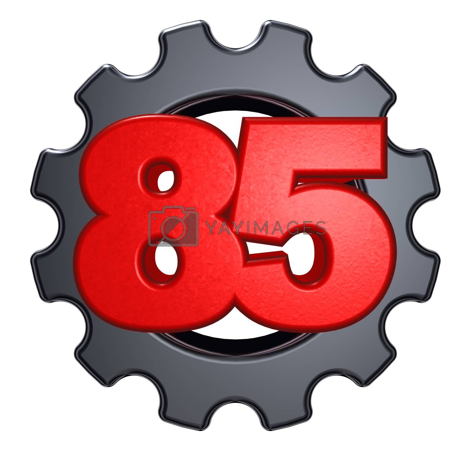 number eighty five and gear wheel on white background - 3d illustration