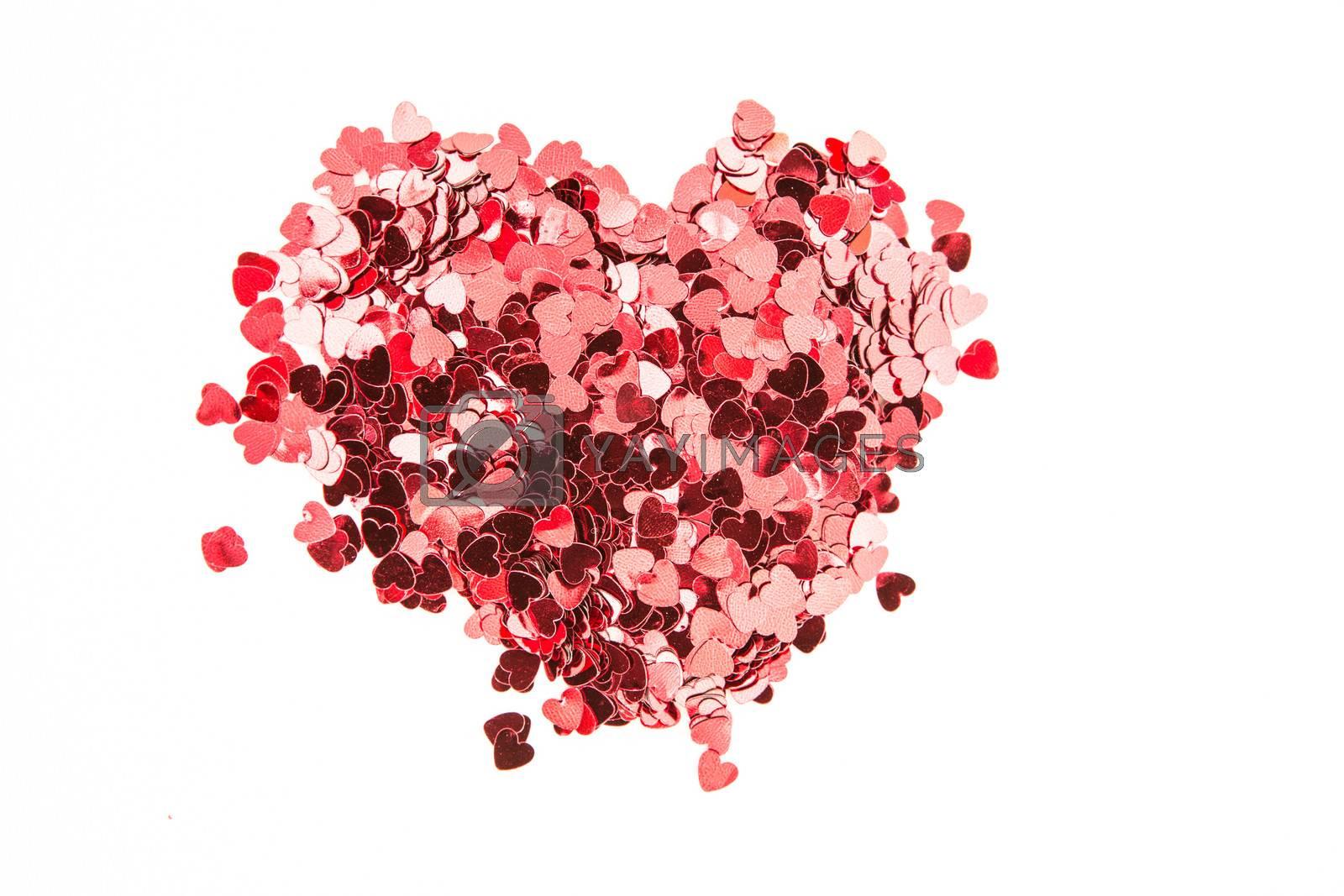 Valentines confetti on white background