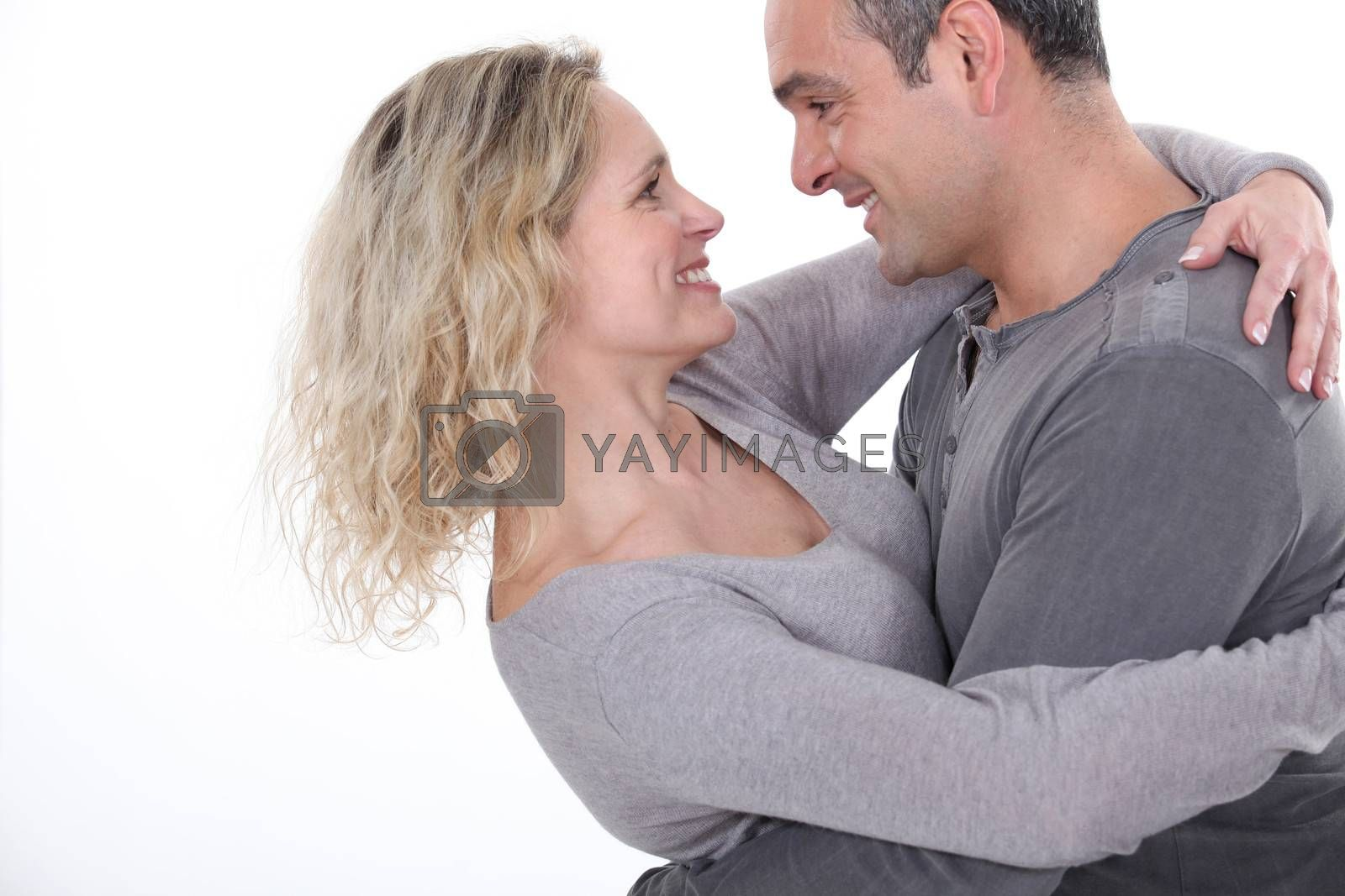 Affectionate couple hugging