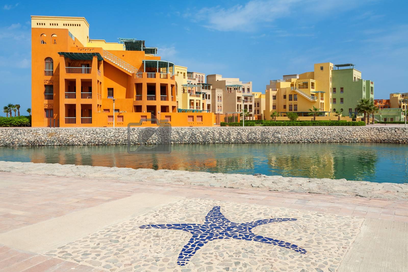 Promenade in Abu Tig Marina. El Gouna, Egypt, North Africa