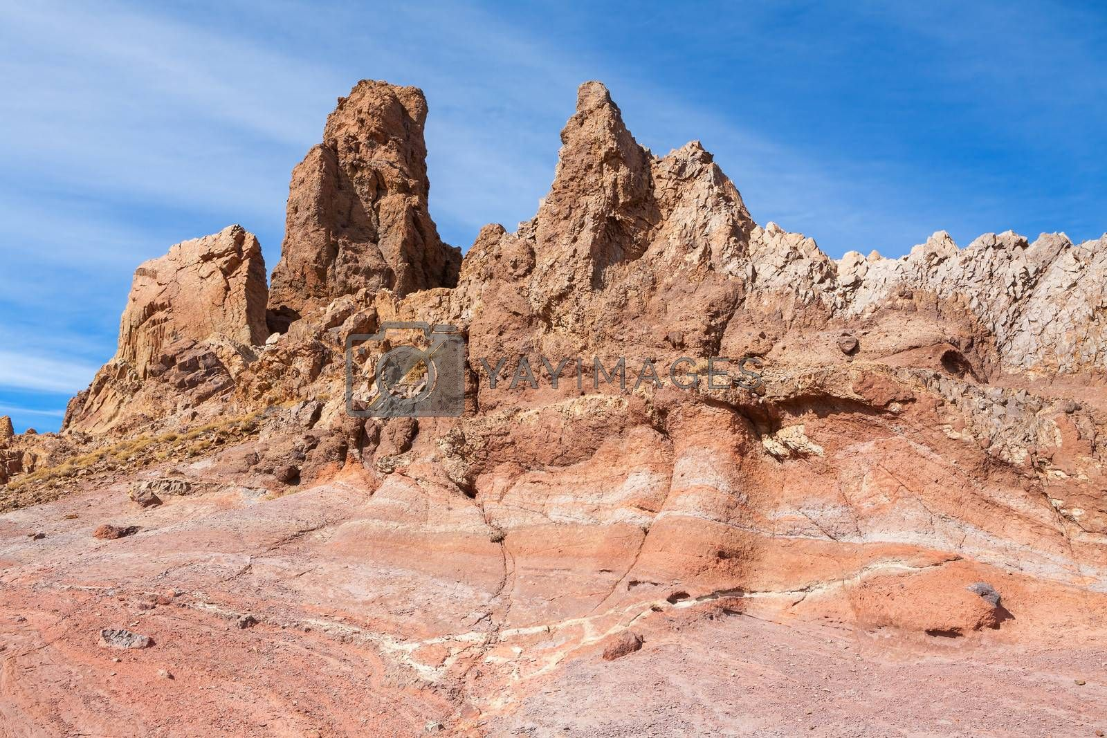 Rock formation in Teide National Park. Tenerife, Canary Islands, Spain