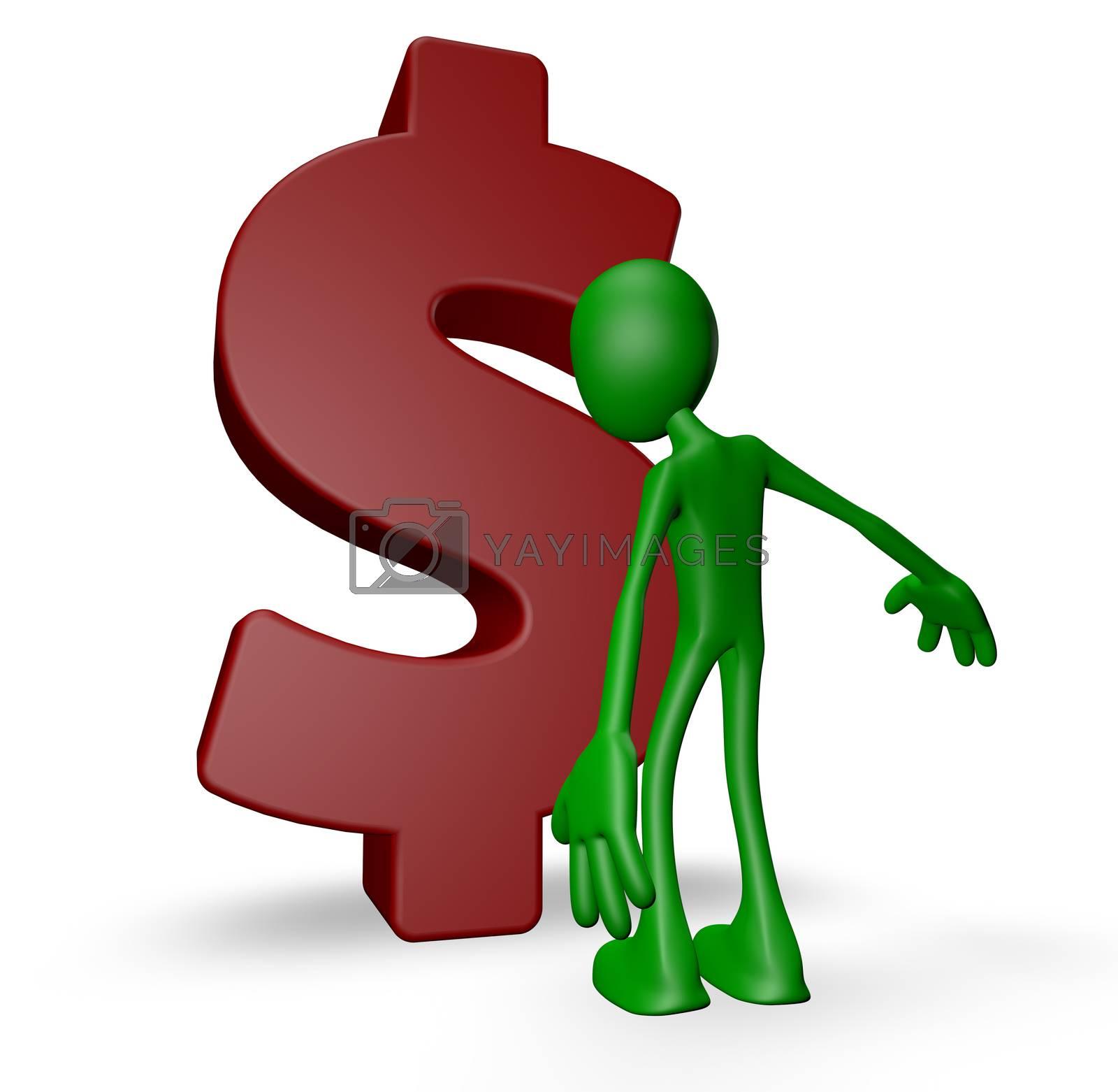 green guy and dollar symbol - 3d illustration