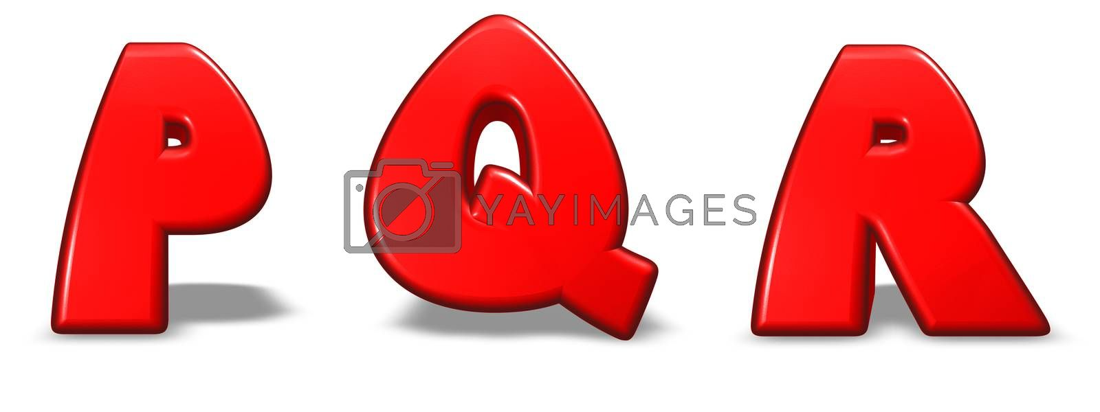 red  letters p, q and r on white background - 3d illustration