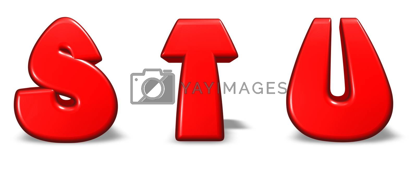red  letters s, t and u on white background - 3d illustration