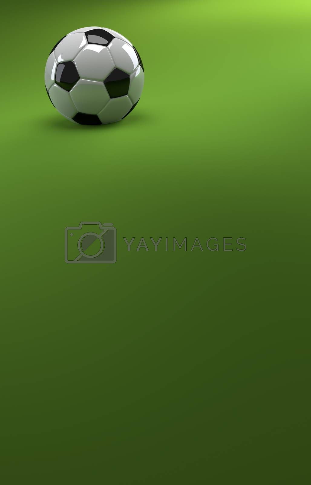 A CGI image of a soccer ball on a green background, like a football pitch, with plenty of copyspace.