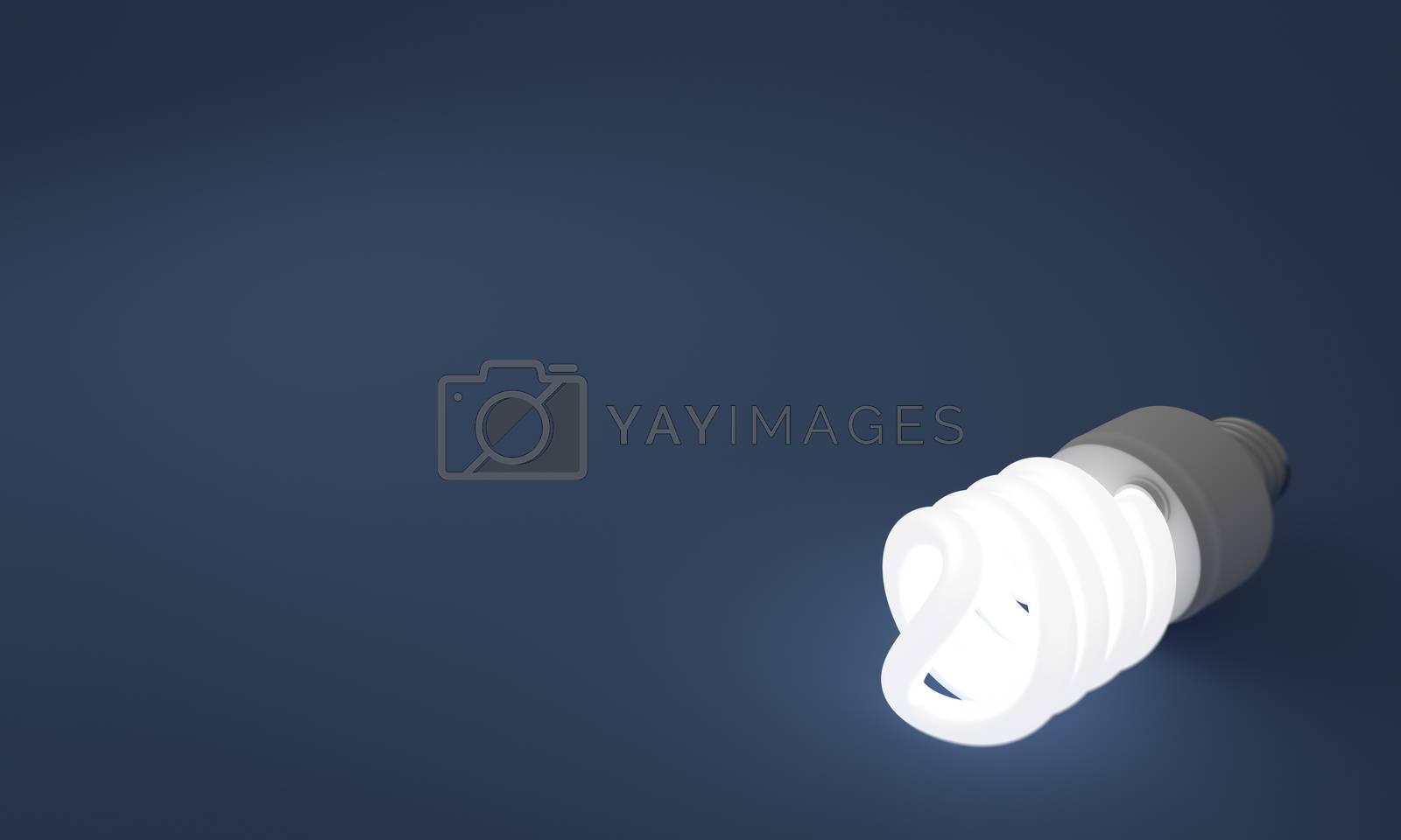A lit spiral energy saving lightbulb on a blue background.