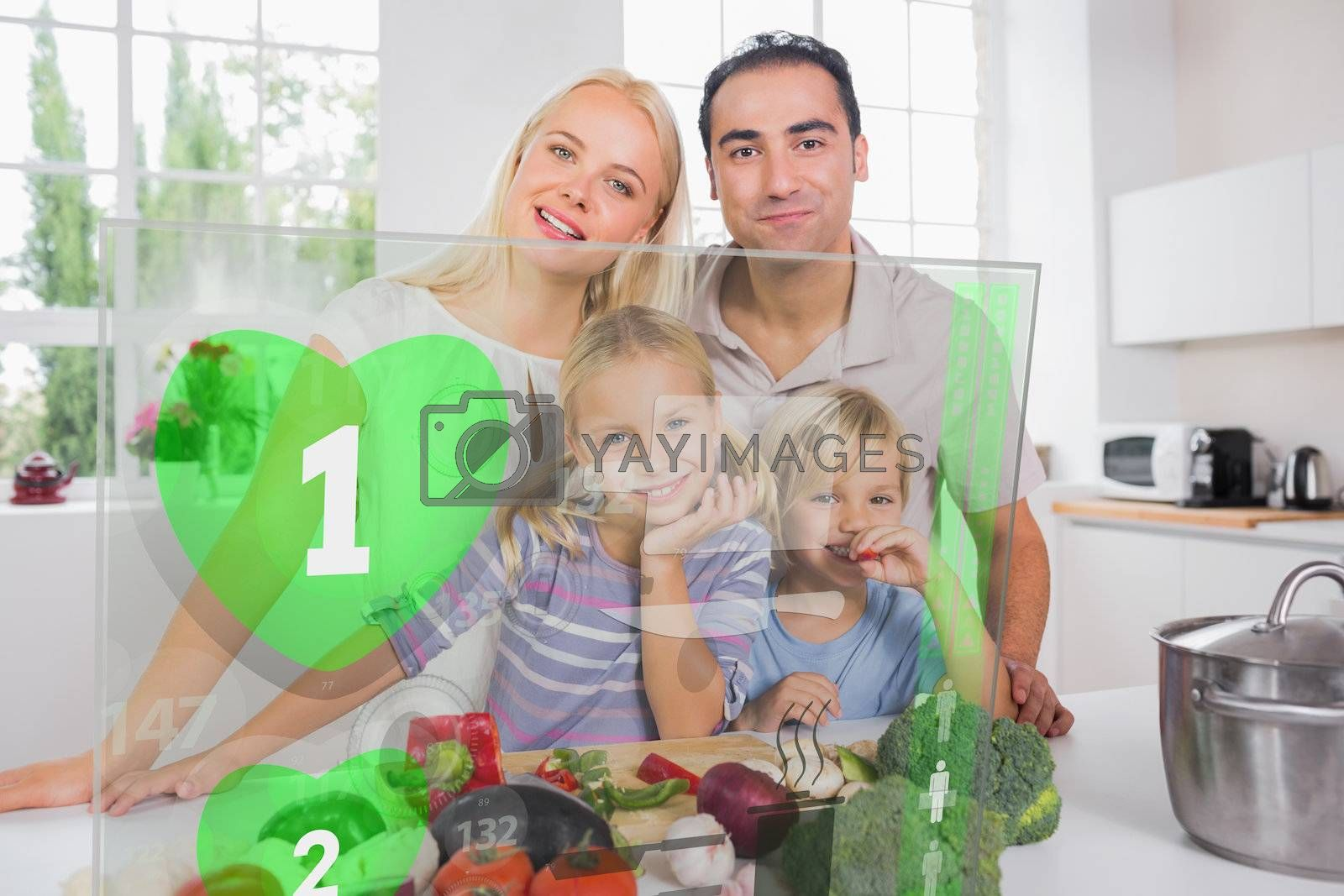 Happy family using holographic green interface to prepare dinner
