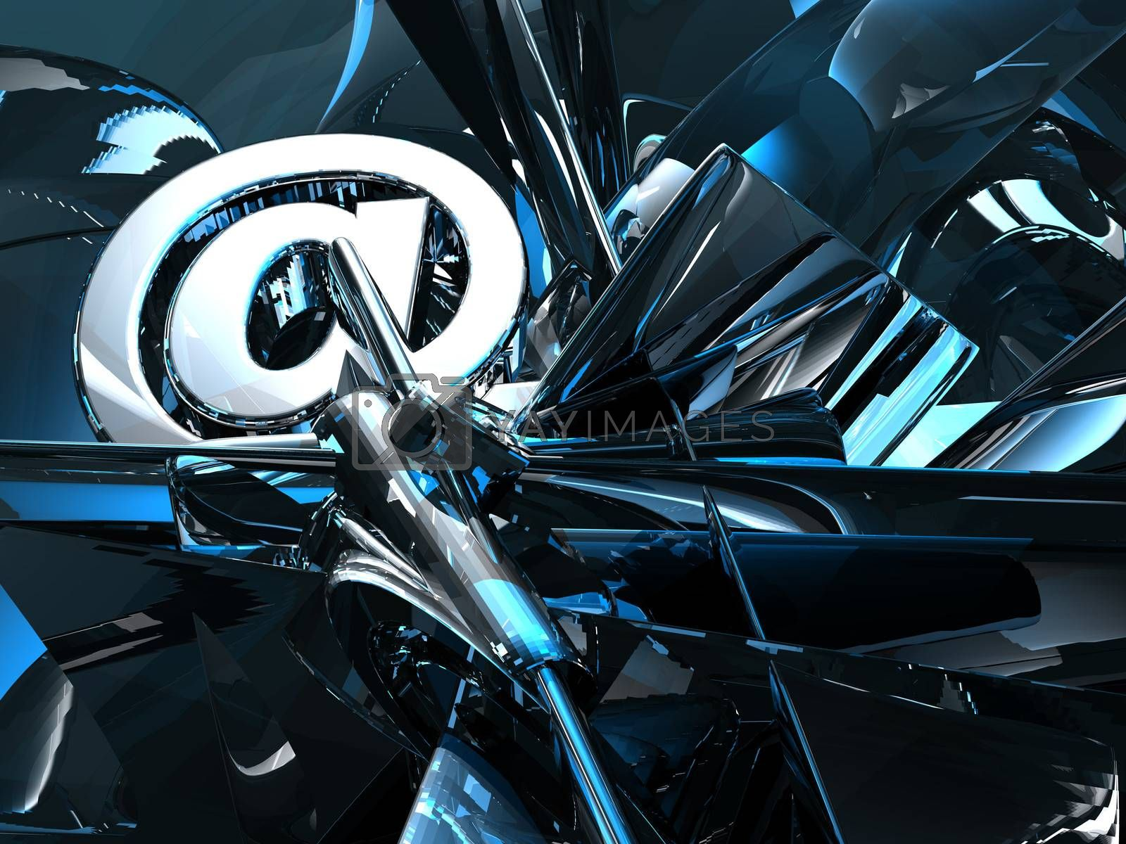 email symbol in abstract futuristic space - 3d illustration