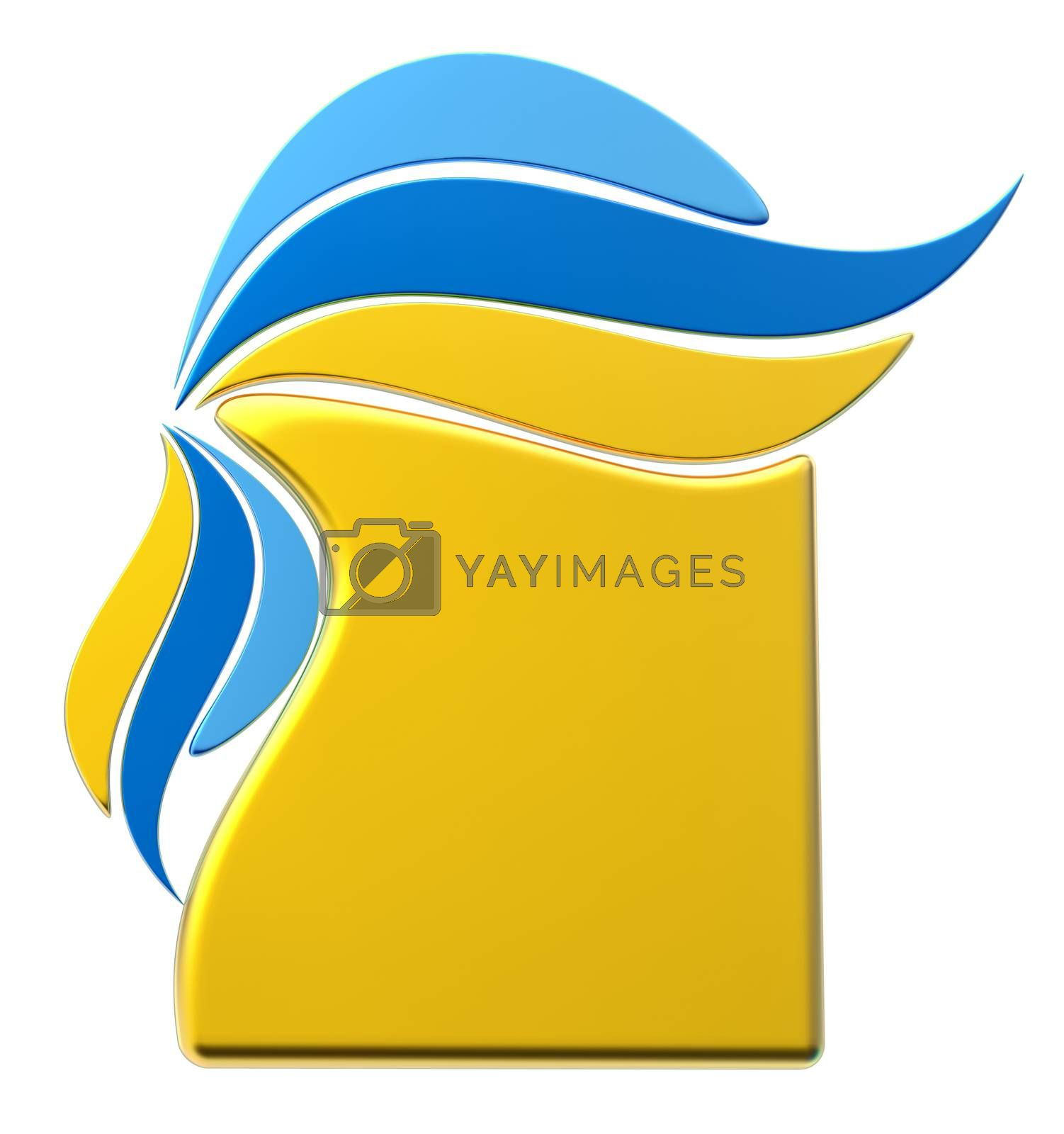 yellow and blue form with stylized shapes