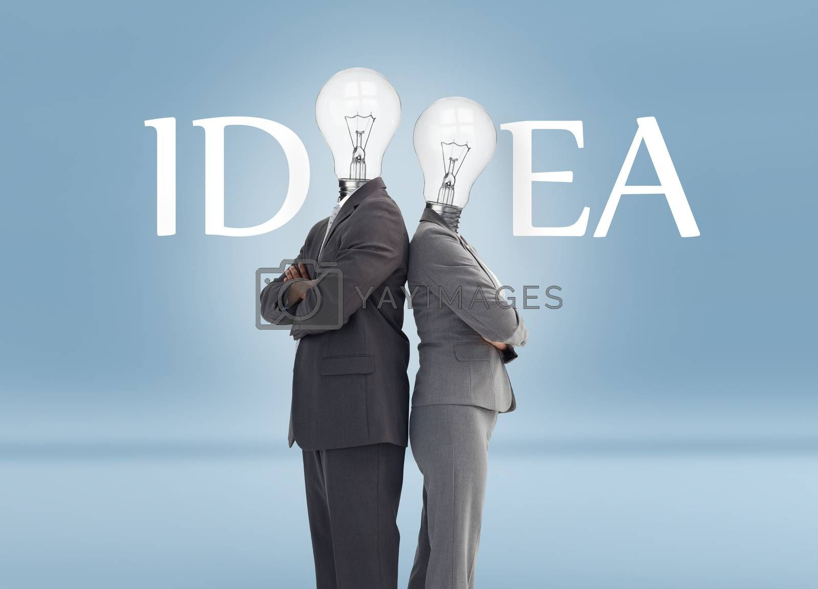 Business people with light bulb heads and idea text posing against blue background