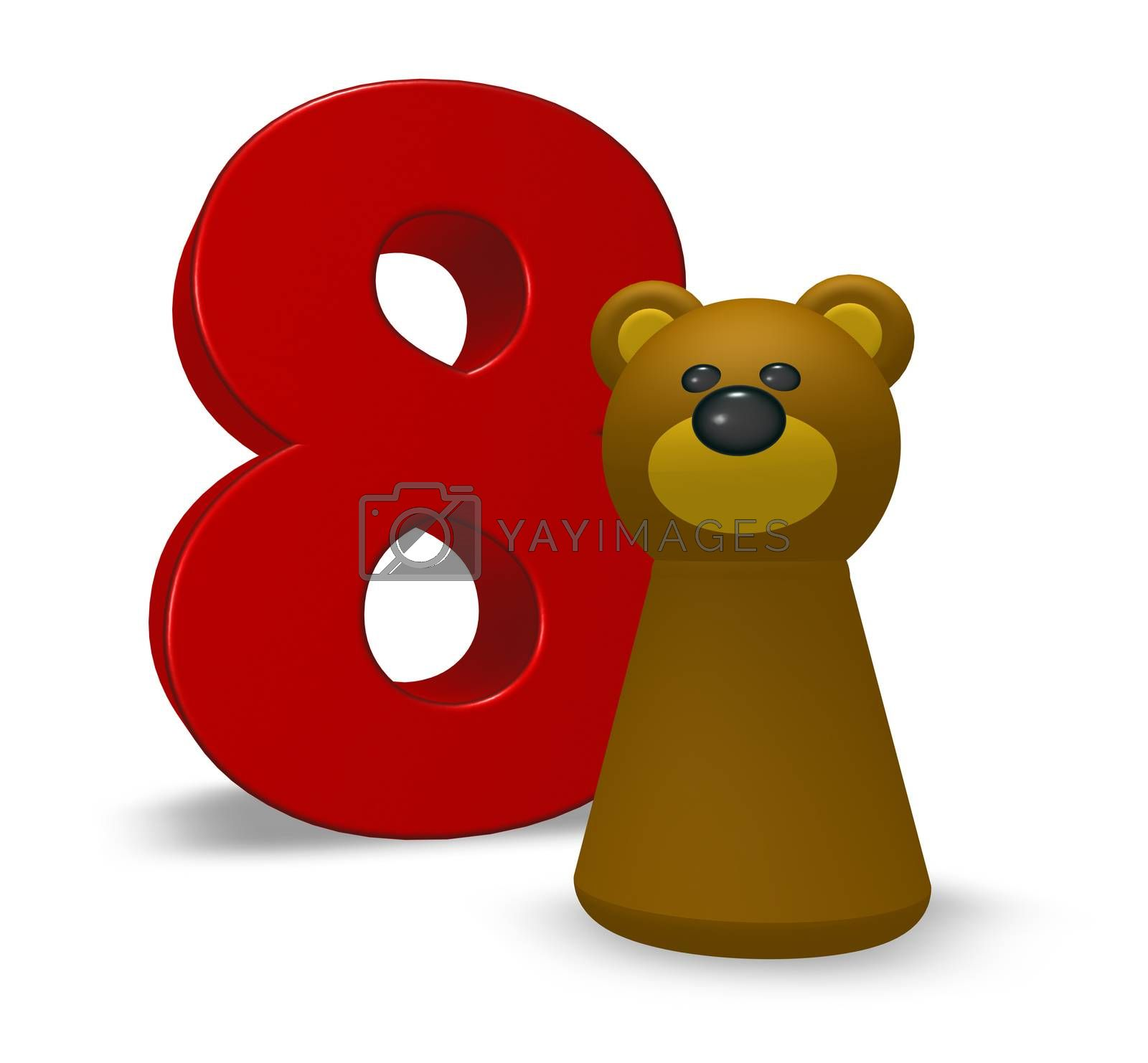 number eight and brown bear - 3d illustration