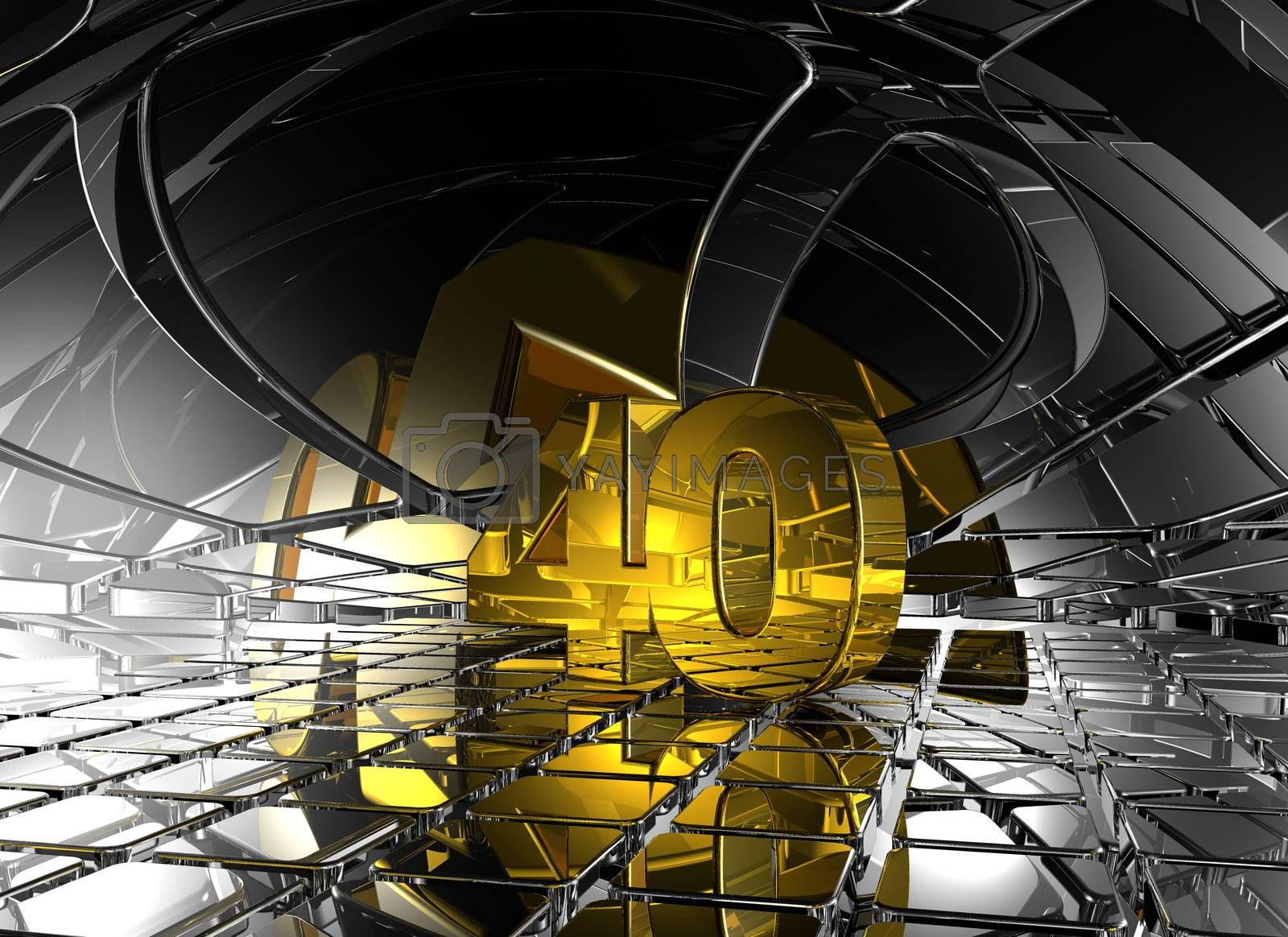 number forty in abstract futuristic space - 3d illustration