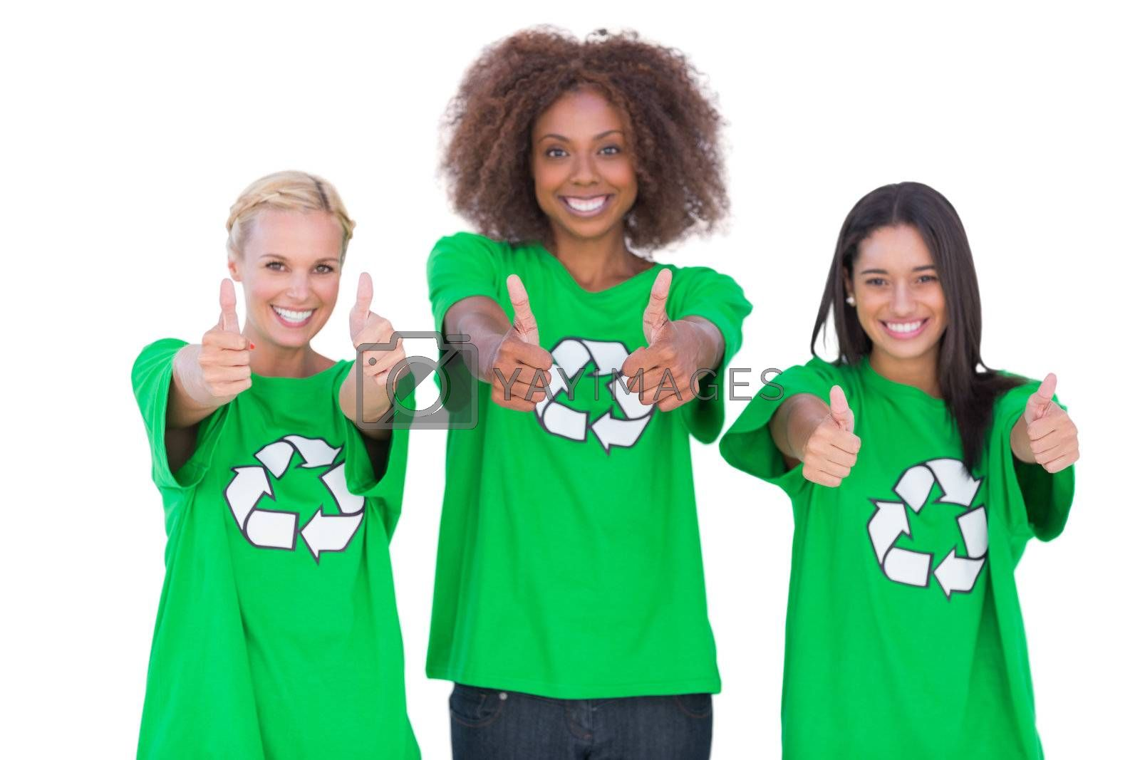 Happy group of enviromental activists giving thumbs up on white background