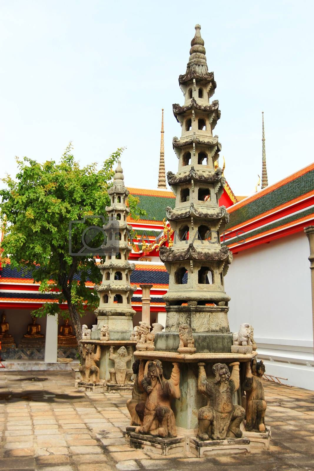 The multi storey Chinese Pagoda at Wat Pho in Thailand