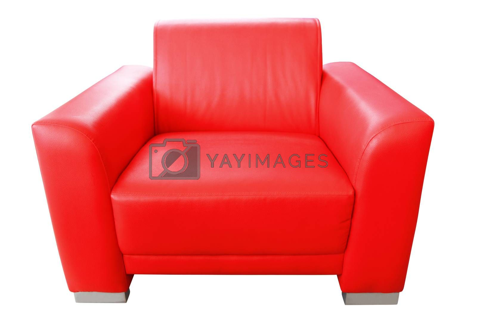 vintage red sofa isolated in white background