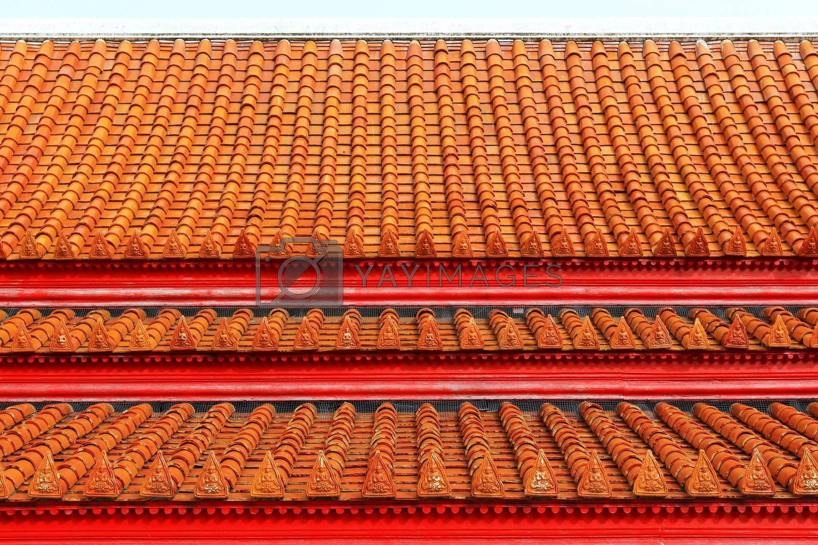 Multi layered roof with the figure of deity holding two palms to perform veneration's glazed tile
