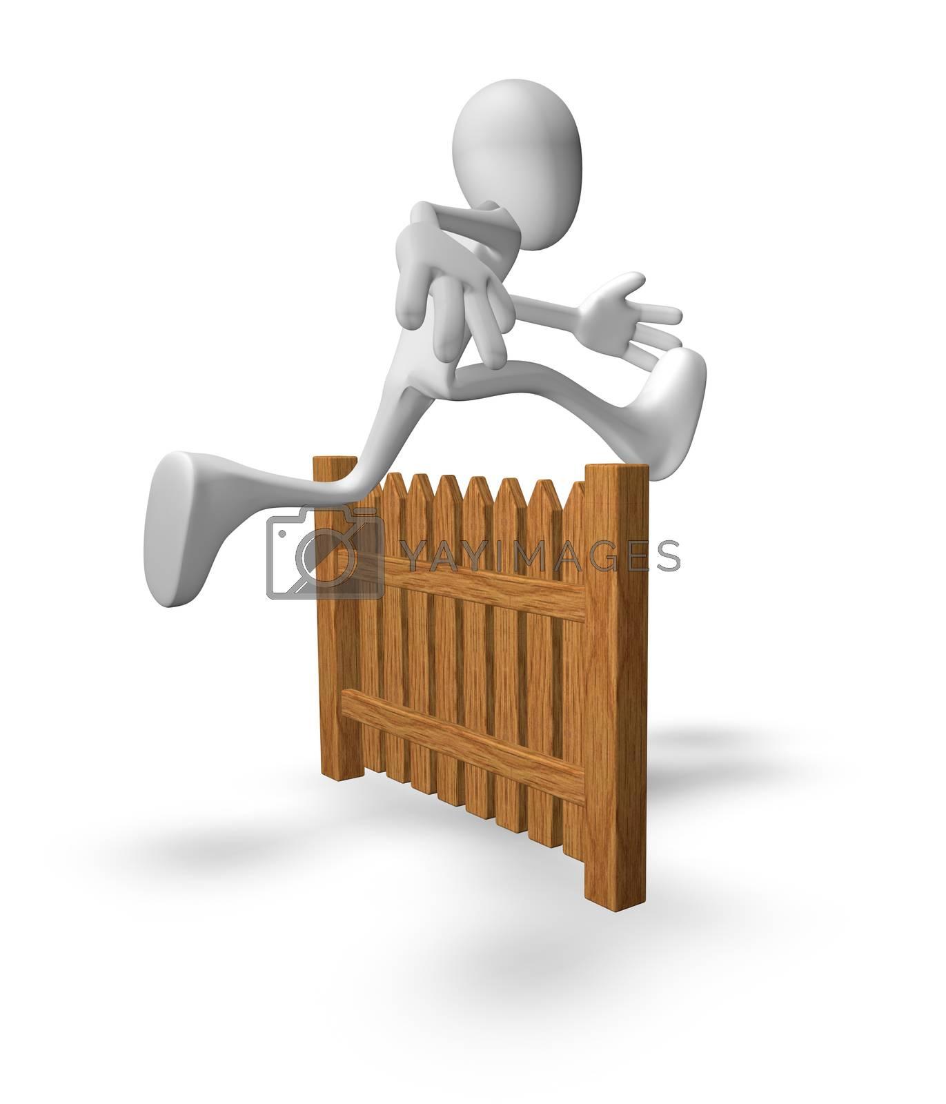 white guy jumps over wooden fence - 3d illustration