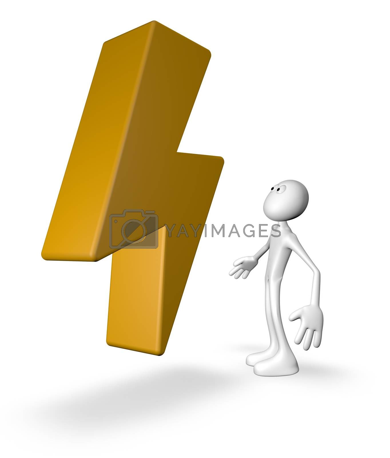 white guy looks at flash symbol - 3d illustration