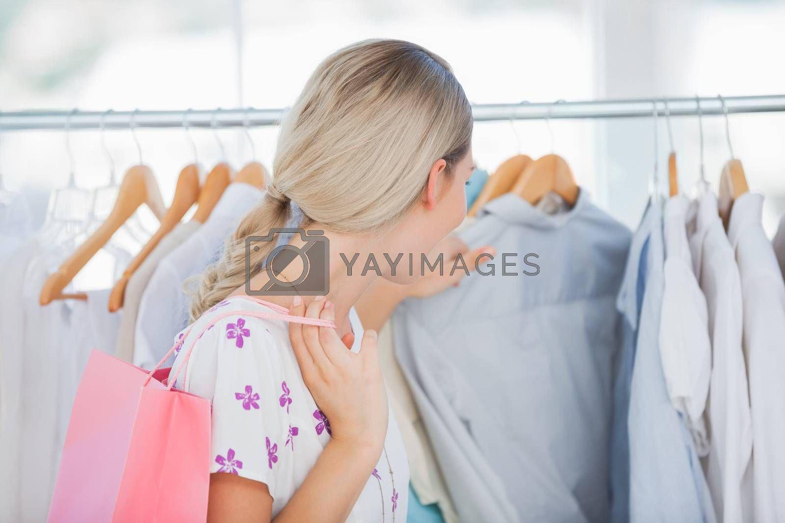 Woman shopping in a bright shop