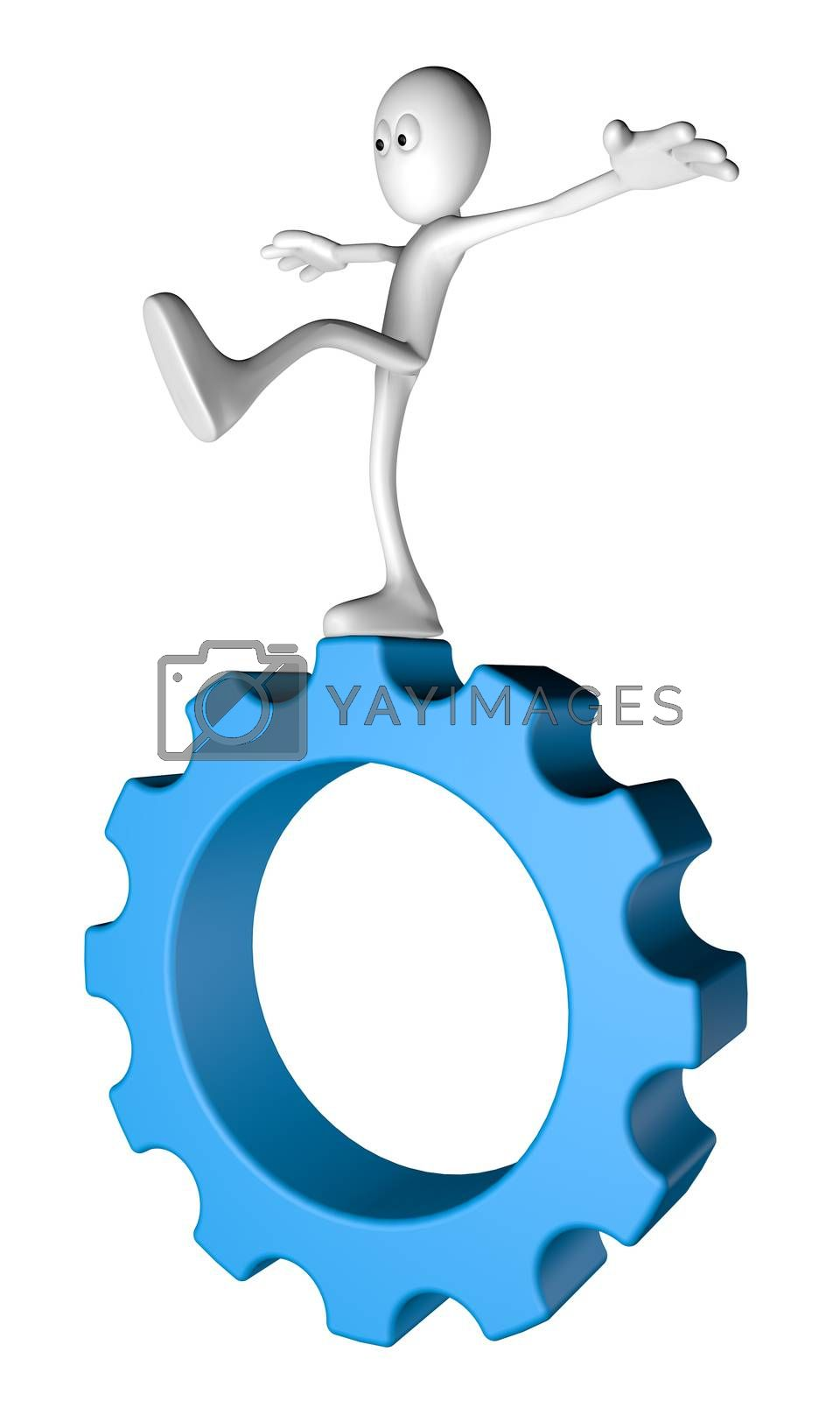 white guy balances on gear wheel - 3d illustration