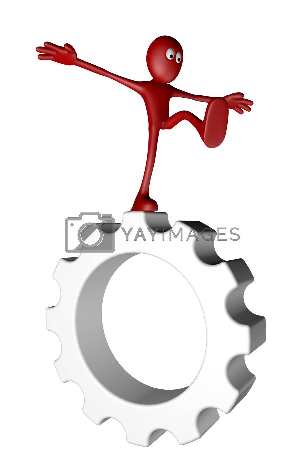 red guy balances on gear wheel - 3d illustration