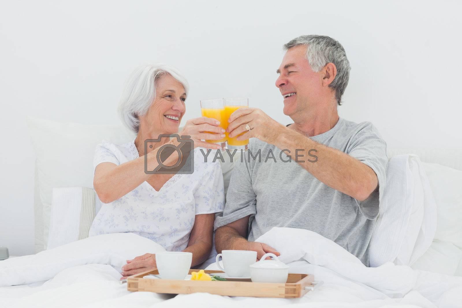 Mature couple having breakfast in bed