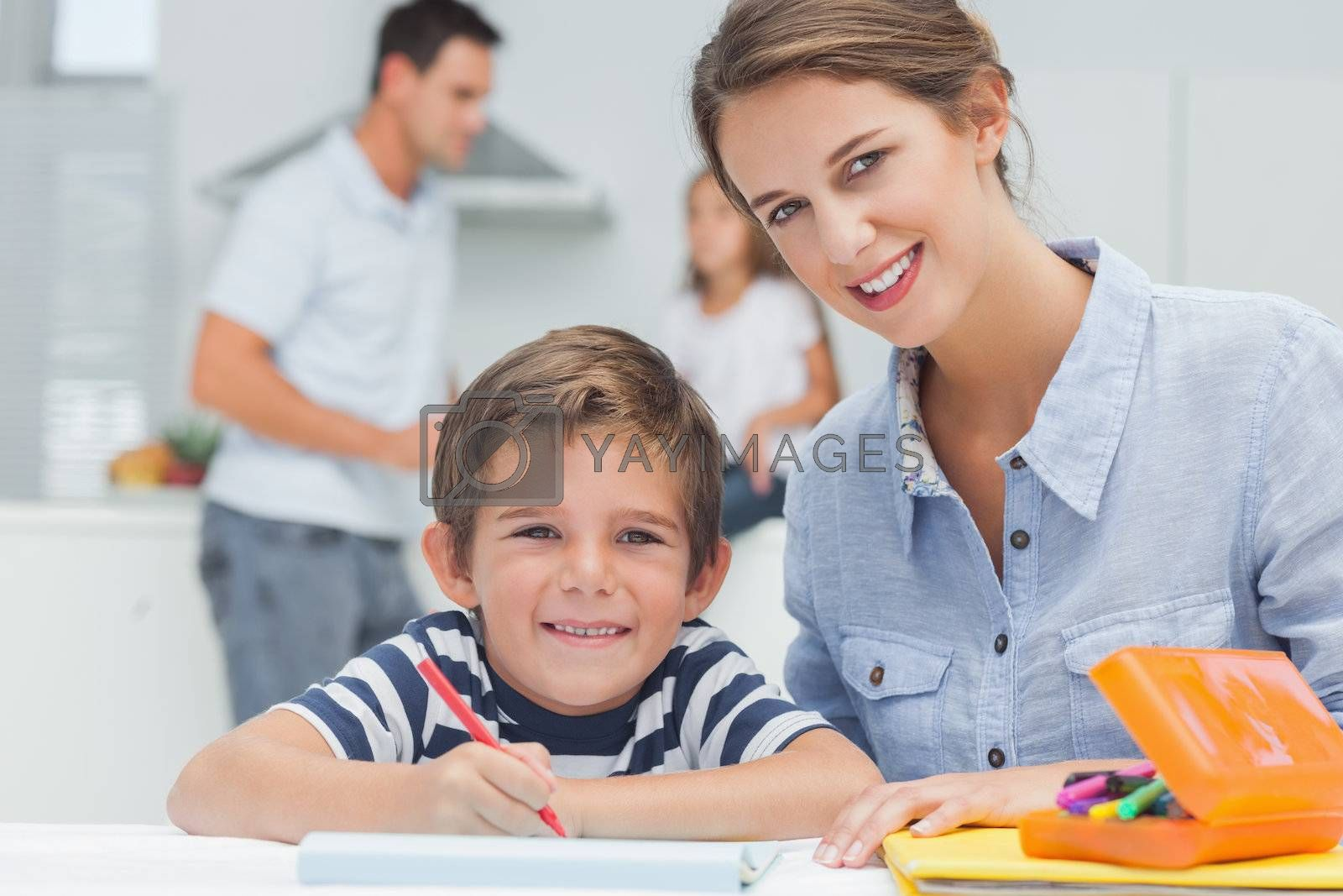 Portrait of a mother drawing with her son by Wavebreakmedia