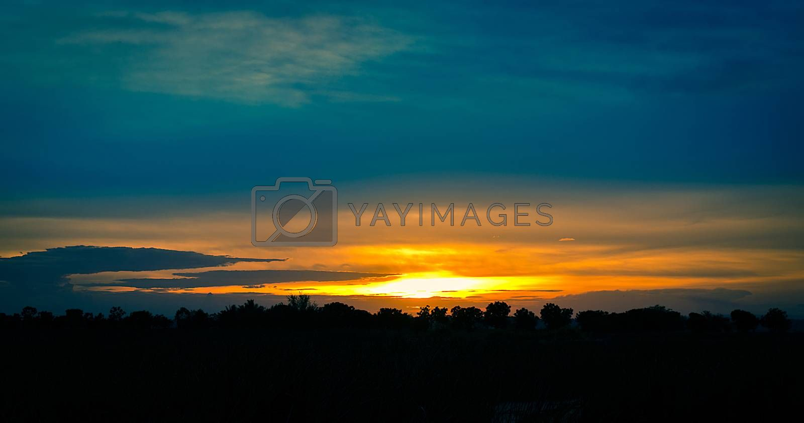 The Silhouette Landscape of Countryside Sunset View.