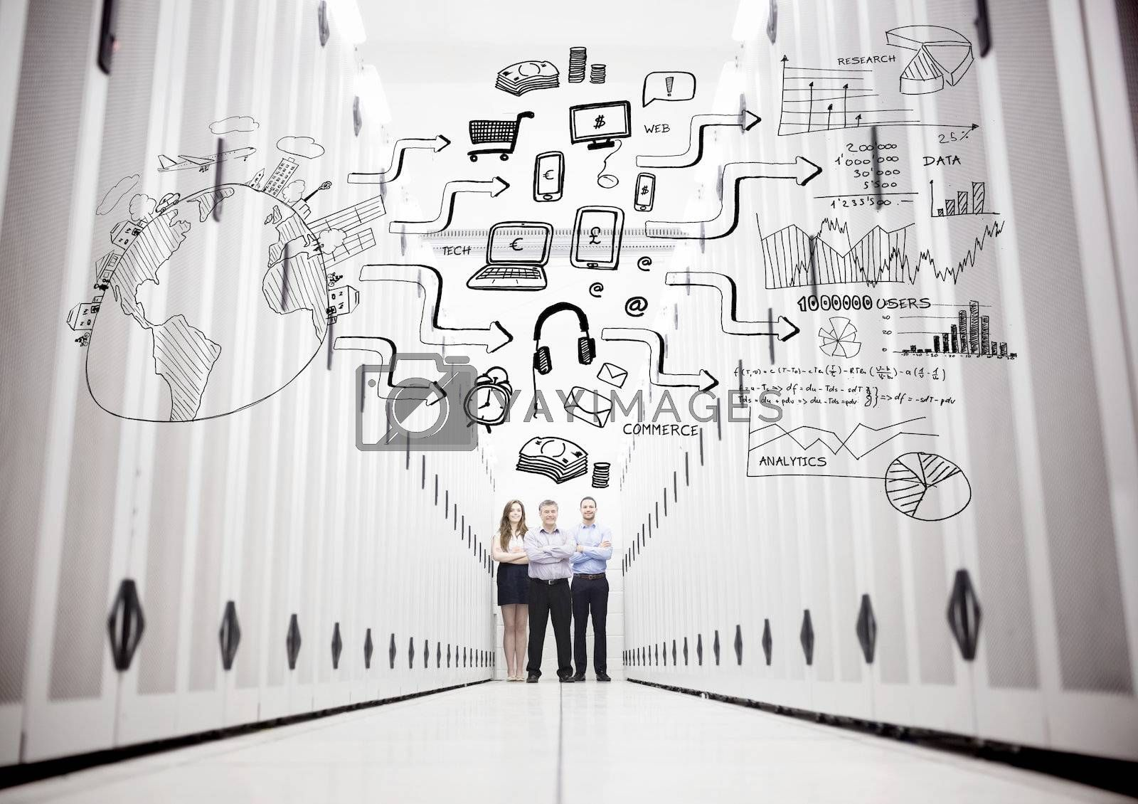 Colleagues in a data center standing in front of a drawing of a process