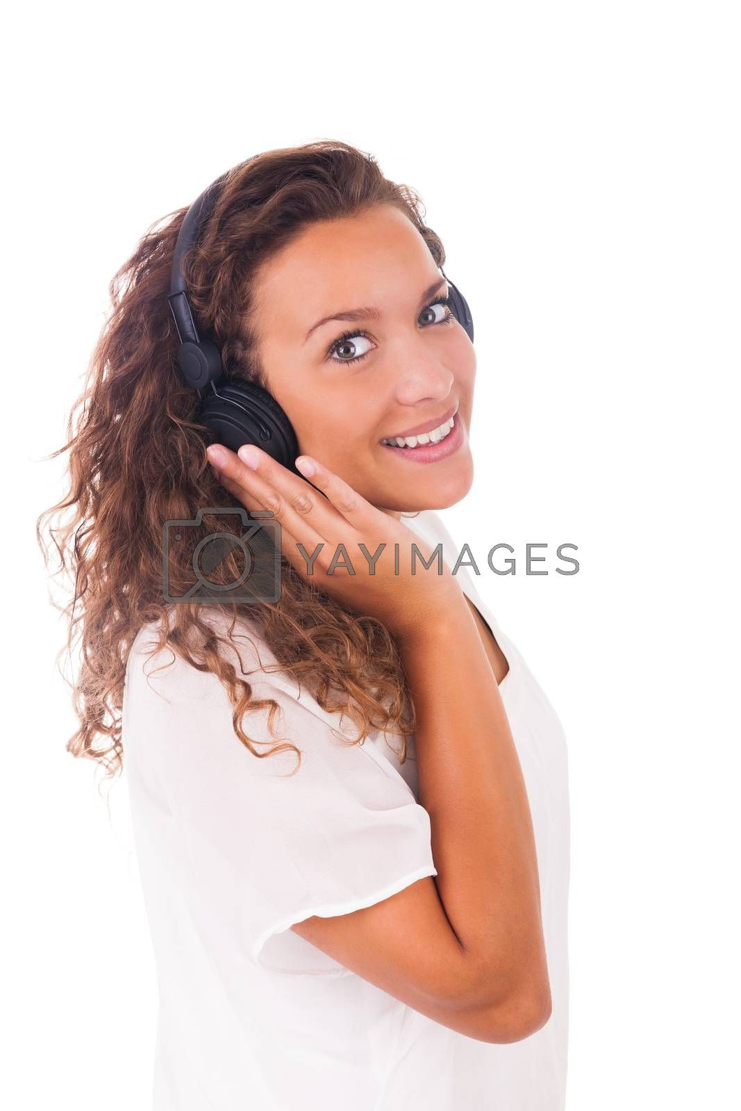Woman listening to music with headphones by michel74100