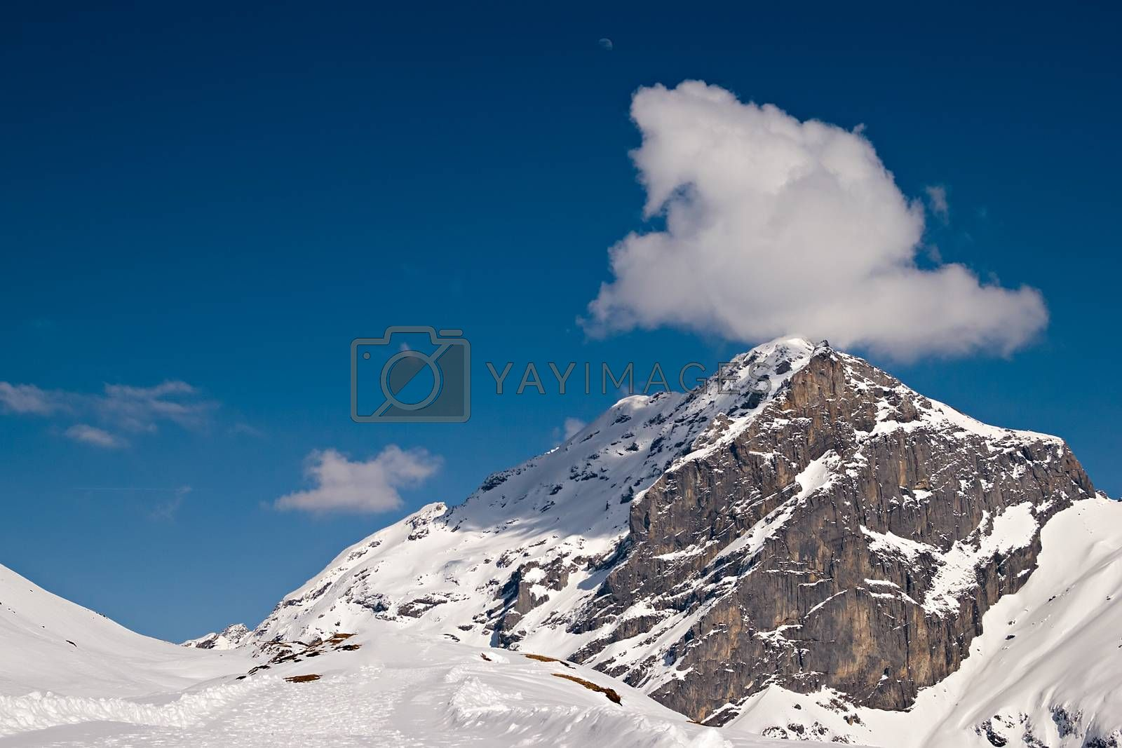 Beautiful view over mountains in the Swiss Alps. Engelberg, Switzerland.