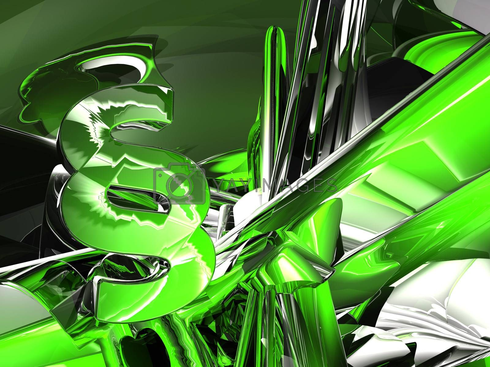 paragraph symbol in abstract futuristic space - 3d illustration