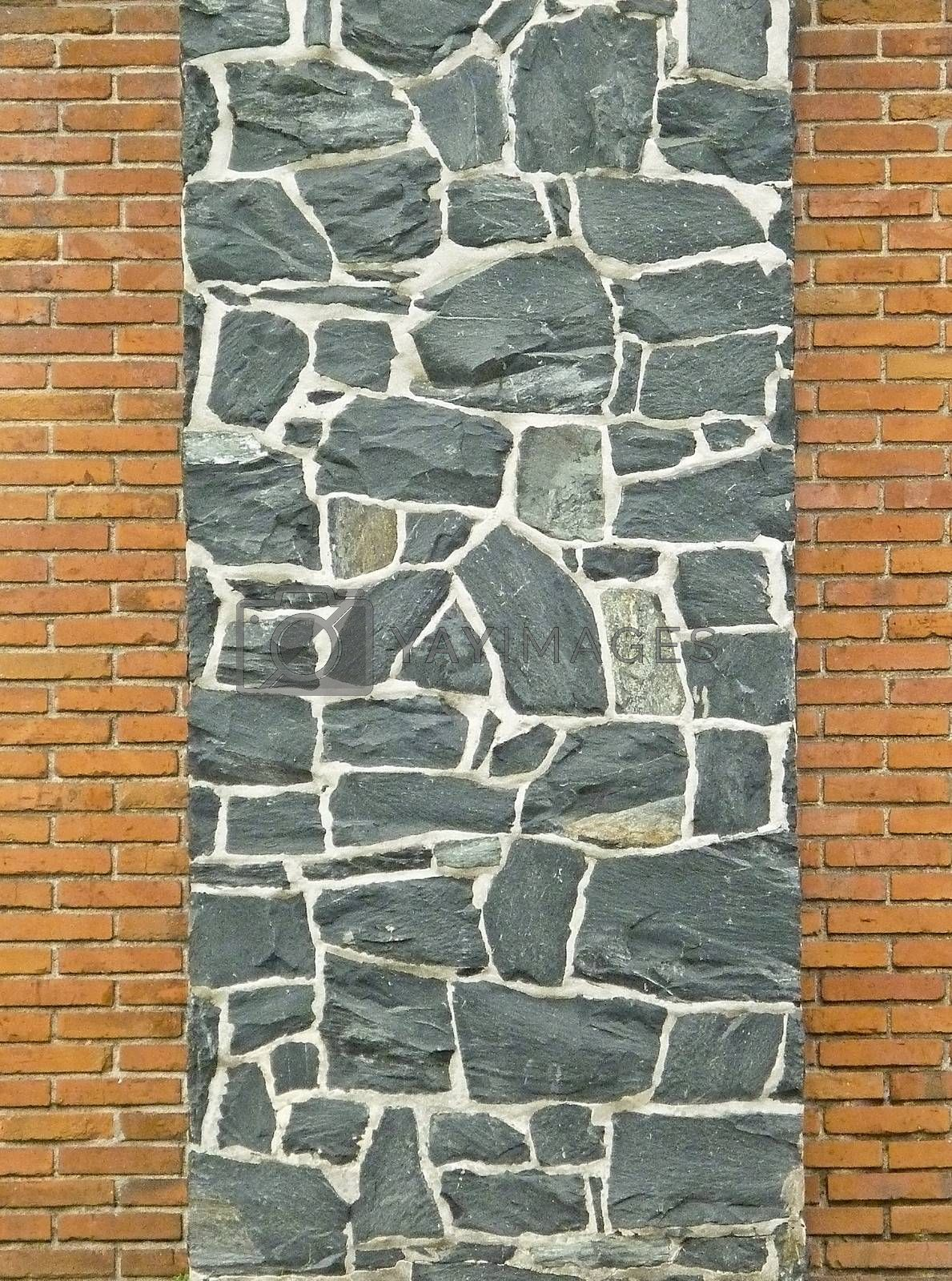 Stone texture relief decorative wall and brick walls in the sides.