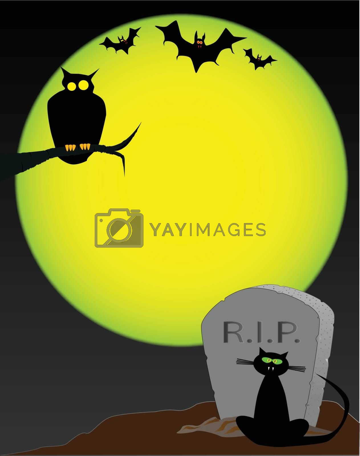 A gravestone set against a full moon with various Halloween animals.