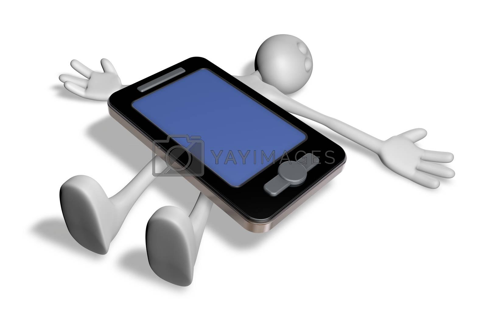 dead white guy under smartphone - 3d illustration