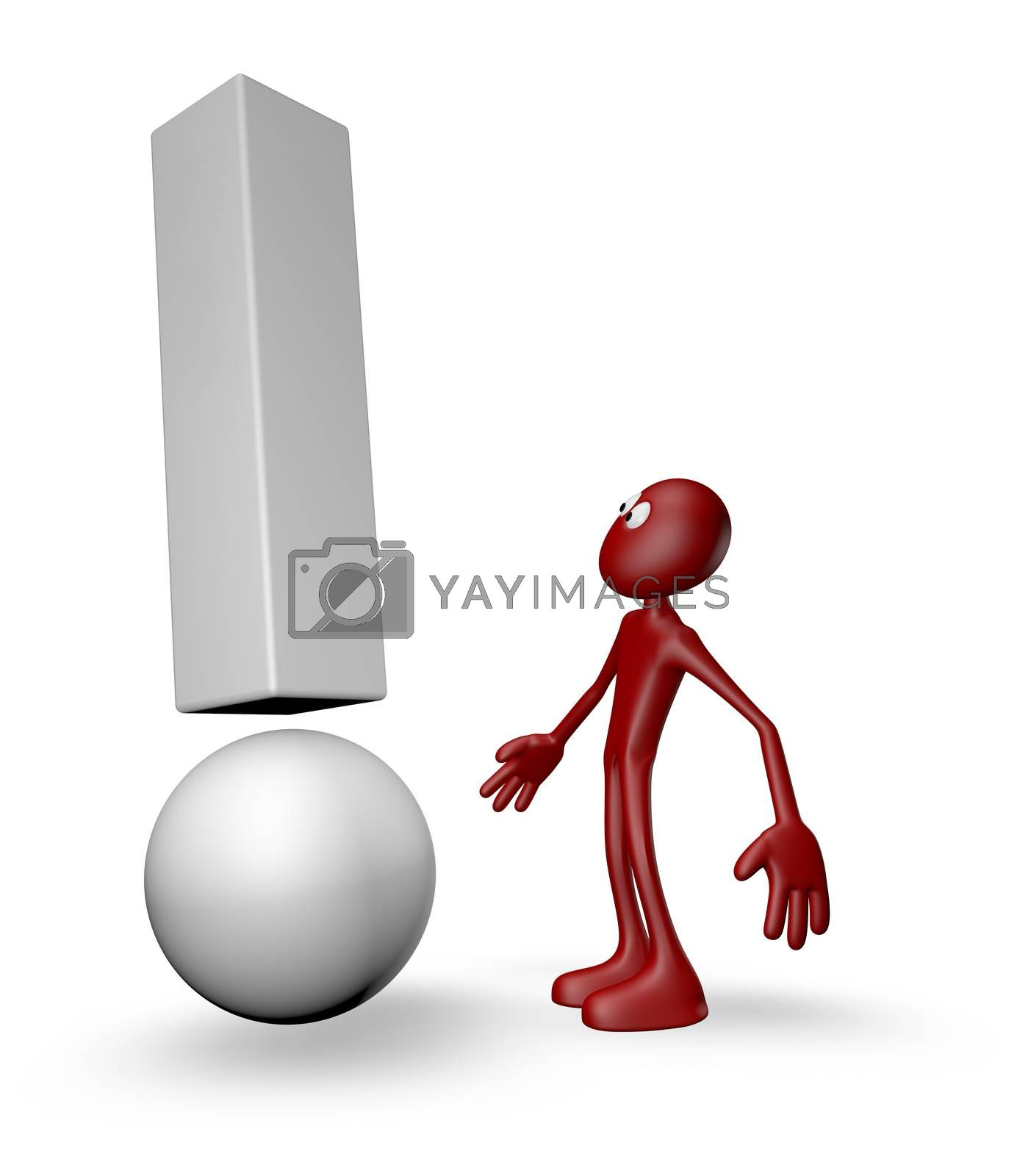 red guy and exclamation mark - 3d illustration